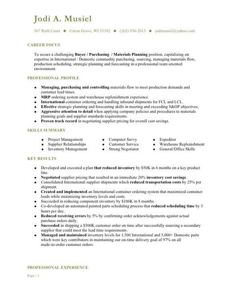 Resume Objective Exles Purchasing Buyer Cover Letter