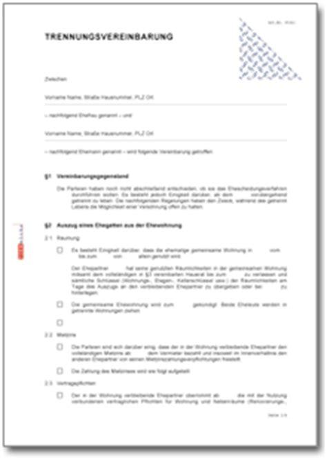 Vorlage Antrag Umgangsrecht Trennungsvereinbarung Eheleute Mit Kindern Muster Zum