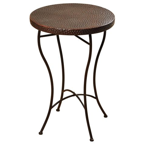 copper accent table hammered copper top round accent table