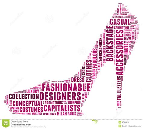 design fashion word fashion word cloud in a shape of high heel stock