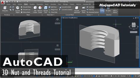 autocad nut tutorial autocad 3d nut and threads tutorial youtube