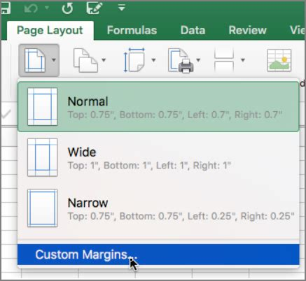 layout excel mac set page margins excel for mac