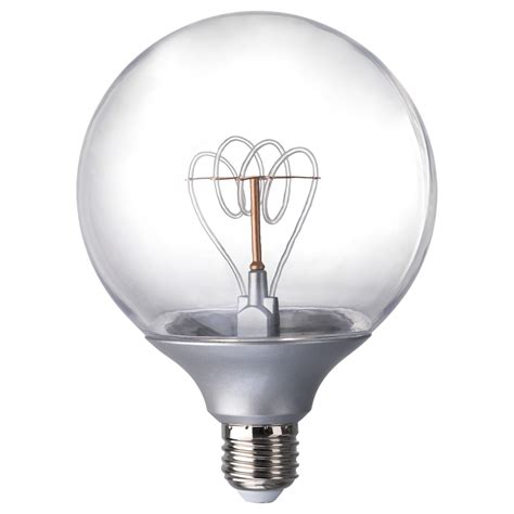 Nittio Led Bulb E27 20 Lumen Globe Silver Colour 120 Mm Ikea Led Light Bulbs Ikea