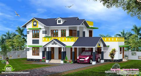 1900 sq kerala model sloping roof house house