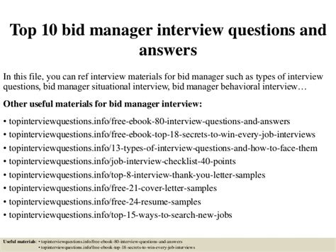 bid manager top 10 bid manager questions and answers