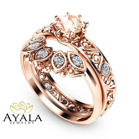 Wedding Rings Gemstones by Filigree Design Morganite Wedding Ring Set In 14k