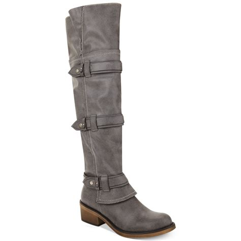 gray the knee boots american rag dukee the knee boots in gray grey lyst