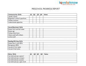 Printable Preschool Report Card Template by Printable Preschool Progress Reports School Days
