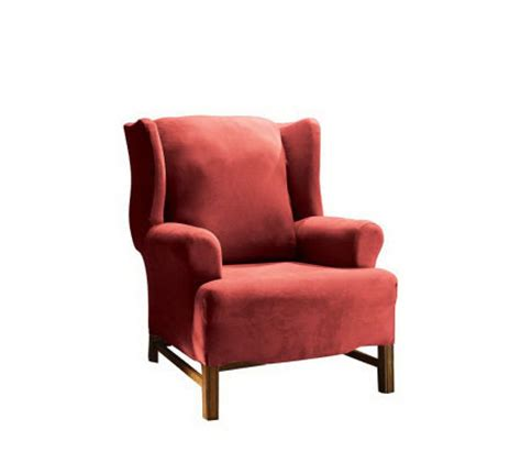 stretch wing chair slipcover sure fit stretch faux suede wing chair slipcover h147697