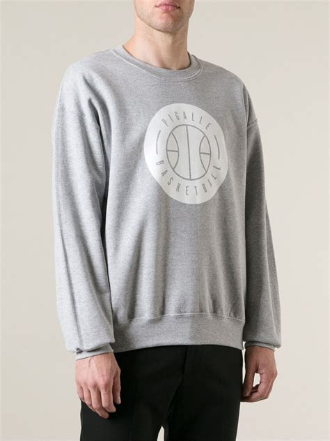 Hoodie Piggale Basketball Lve pigalle basketball crew neck sweatshirt in gray for lyst