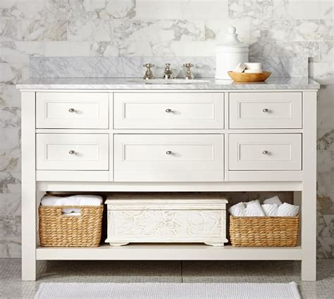 single sink console vanity single wide sink console white pottery barn