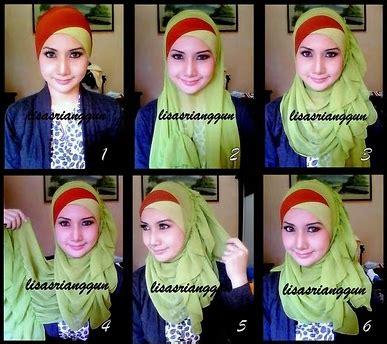 Kerudung Segi Empat Glitter cara memakai jilbab muslimah cara memakai shawl ombak