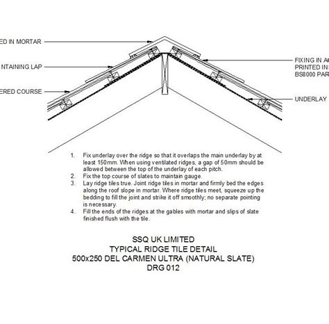 slate roof section typical slate ridge tile cad detail cadblocksfree cad