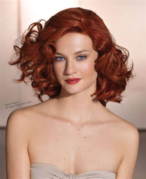medium styled dark red haircuts for latinas red hair with curls cut at shoulder length and styled to