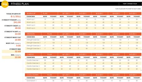 Fitness Plan Excel Template Fitness Plan Template