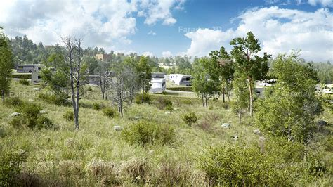 landscape architecture rendering for winter c in mountains