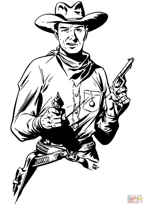 cowboy guns coloring pages cowboy with two guns coloring page free printable