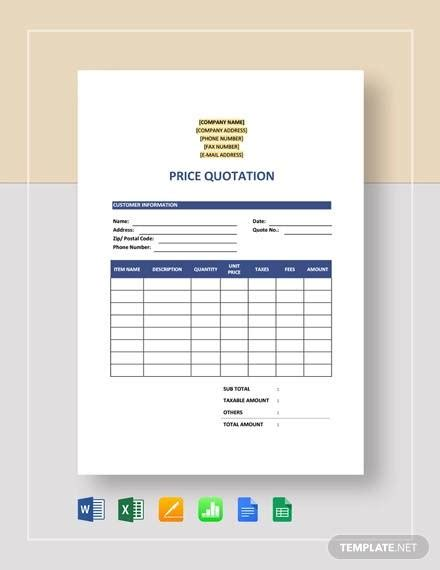 price quotation samples ms word