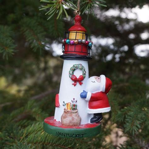 nantucket santa lighthouse ornament the hub of nantucket