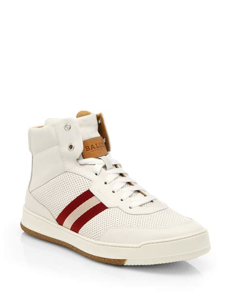 bally sneakers sale bally perforated leather hightop sneakers in white for