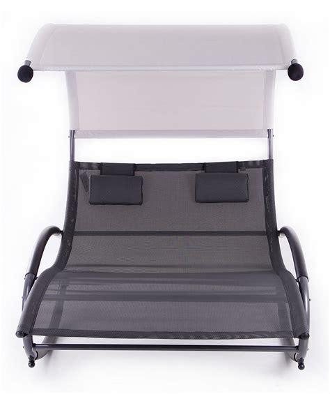 patio double chaise swing rocker w canopy pool outdoor