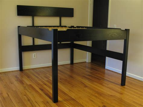elevated bed frame diy stained wood raised platform bed frame finished the