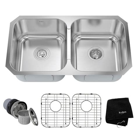 Kitchen Sink Kit Kraus Undermount Stainless Steel 31 In Basin Kitchen Sink Kit Kbu29 The Home Depot