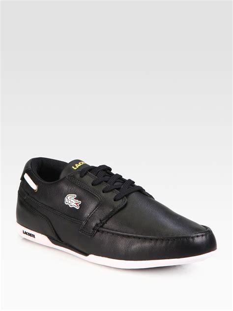 lacoste black boat shoes lacoste dreyfus boat shoes in black for men lyst