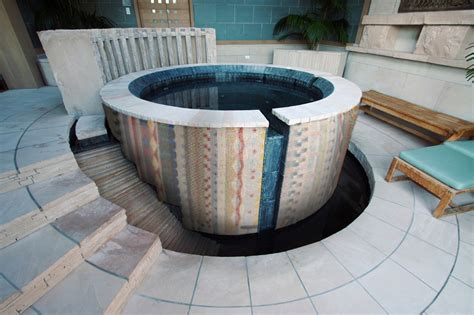 Southwest Patio Aztec Tub Custom Pool Spa Mosaic Geometric Pattern