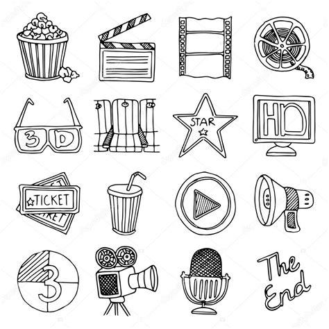 retro vintage style icon collection stock illustration cinema movie vintage icons set stock vector