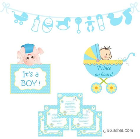 Cle1256 Piyama Baby Motif Boys New Born theme baby boy announcement kit untumble