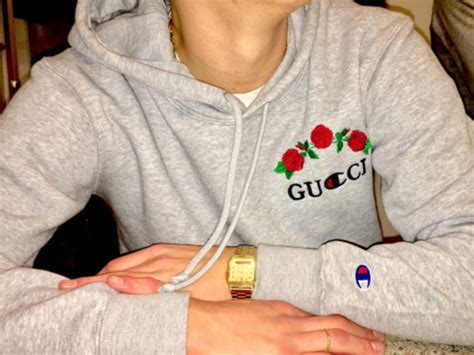 sweater gucci cool trendy champion long sleeves hoodie grey beautifulhalo wheretoget
