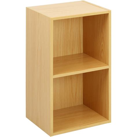 2 tier wooden shelf beech bookcase shelving storage