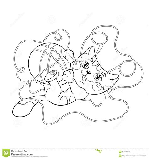 coloring page outline   fluffy kitten playing  ball
