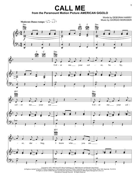 song call me call me sheet music by blondie piano vocal guitar