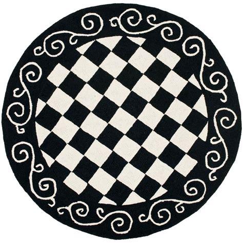 4 ft rug safavieh chelsea black ivory 4 ft x 4 ft area rug hk711a 4r the home depot
