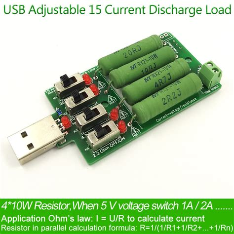 resistor power handling capacity usb dc electronic load high power discharge resistance resistor adjustable 4 current