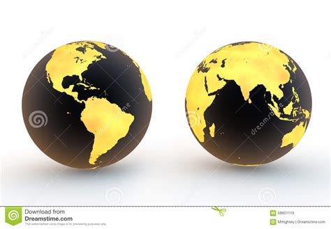 3d black and gold earth globes stock illustration