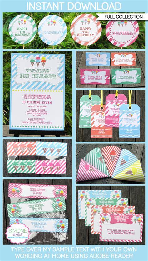 printable ice cream party decorations ice cream party invitations decorations full printable