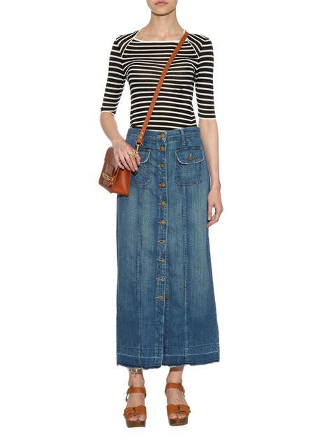 Maxi Denim Lipat 1 lyst current elliott the sally denim maxi skirt in blue