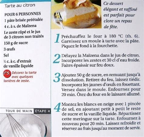 fiche de cuisine fiche cuisine tarte au citron meringu 233 e