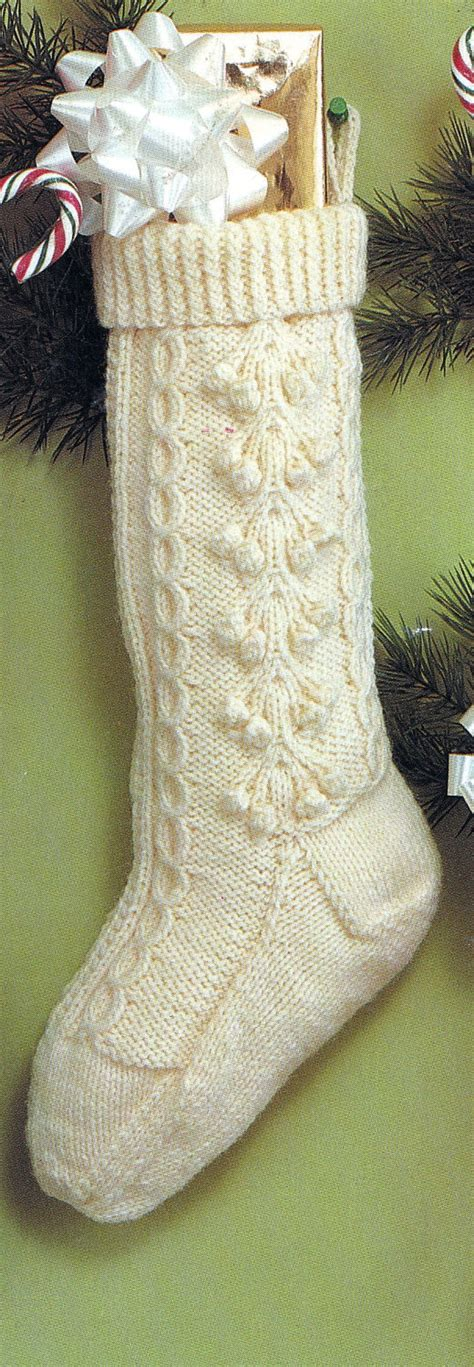 knit christmas fisherman stocking vintage knitting pdf pattern