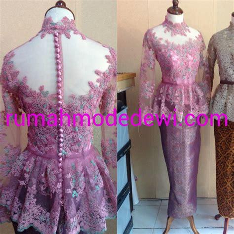 Baju Kurung Kain Sulam Bordir Bahan Prada kebaya peplum warna pink magenta