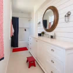 long traditional bathroom  white shiplap wall wood