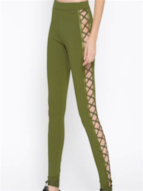 buy puma olive green solid tights tights  women