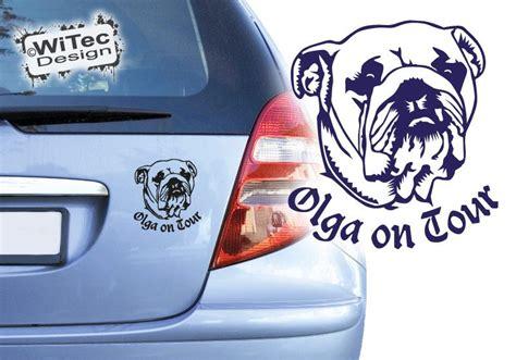 Aufkleber Name Adresse by Englische Bulldogge On Tour Autoaufkleber Name Aufkleber Hunde