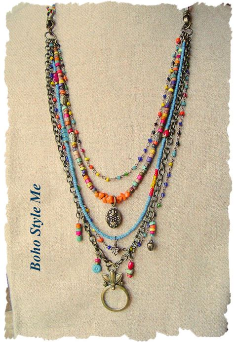 how to make boho jewelry bohemian jewelry colorful layered beaded necklace modern