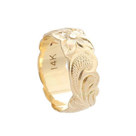 hawaiian jewelry 14k yellow gold 8mm scrolling ring