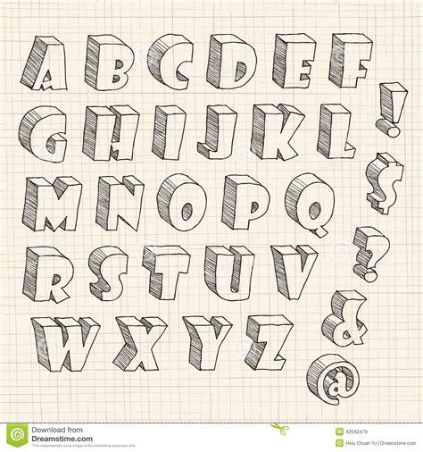 Imagenes En 3d Letras | letra dibujada mano 3d en may 250 scula ilustraci 243 n del vector