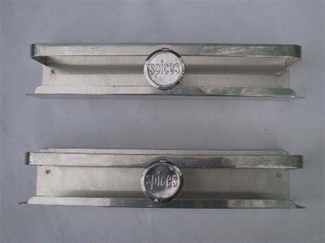 mid century vintage aluminum kitchen spice racks wall mount shelves